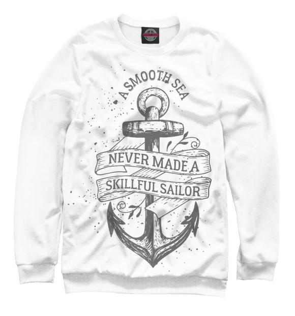 Мужской свитшот с изображением Гладкое море цвета Белый