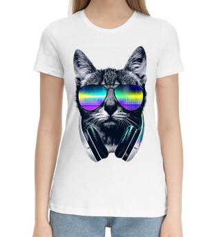 Женская хлопковая футболка Кот с наушниками
