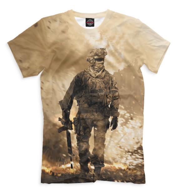 Мужская футболка с изображением Modern Warfare 2 цвета Молочно-белый