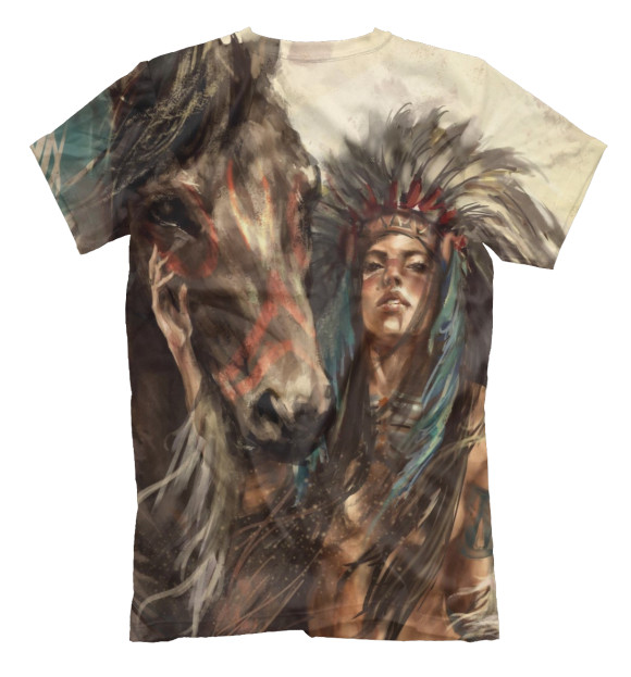 Мужская футболка с изображением Индейская воительница цвета Белый