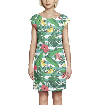 Платье без рукавов Цветы и листья