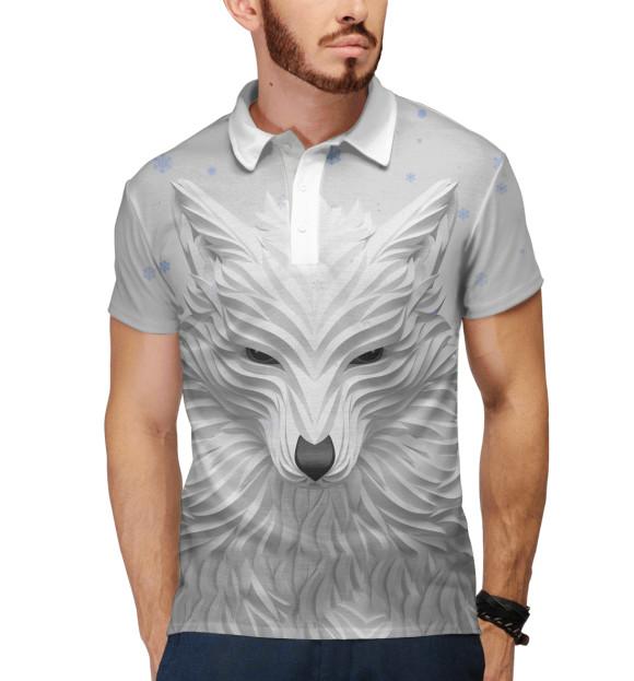 Мужское поло с изображением 3D Волк цвета Белый