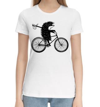 Женская хлопковая футболка Ежик на велосипеде
