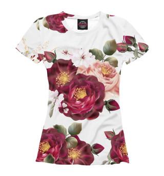 Женская футболка Большие бутоны