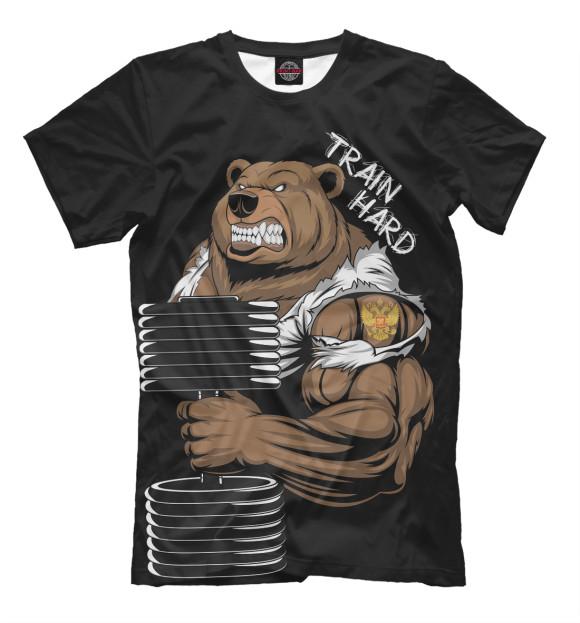Мужская футболка с изображением Train hard цвета Черный