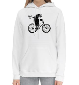 Женский хлопковый худи Ежик на велосипеде