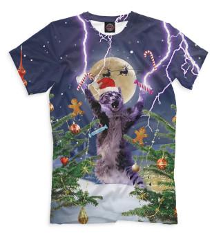 Мужская футболка Новогодний кот