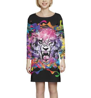 Платье с рукавом Тигр