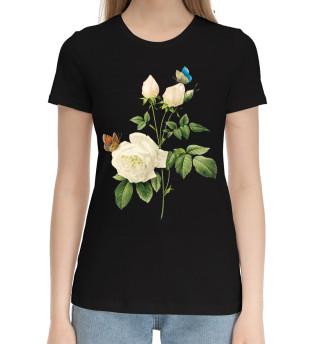 Женская хлопковая футболка Цветы
