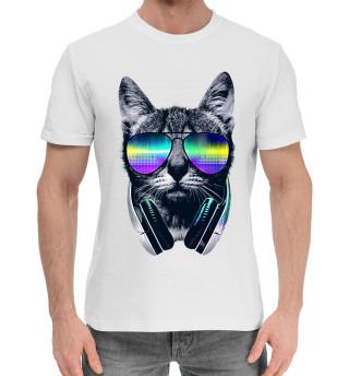 Мужская хлопковая футболка Кот с наушниками