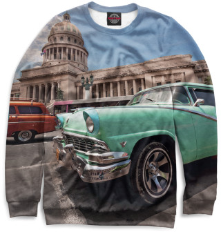 Мужской свитшот Автомобили на Кубе