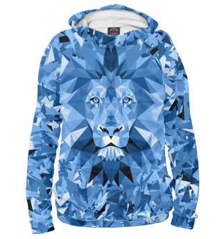 Мужское худи Сине-бело-голубой лев