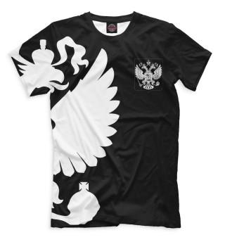 Мужская футболка Герб России / Белый на Черном