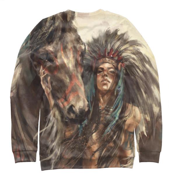Мужской свитшот с изображением Индейская воительница цвета Белый