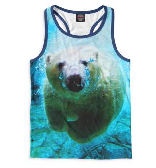 Мужская майка-борцовка Белый медведь под водой