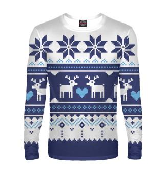 Мужской лонгслив Скандинавский свитер с оленями