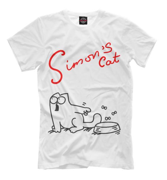 Мужская футболка с изображением Кот Саймона хочет кушать цвета Молочно-белый