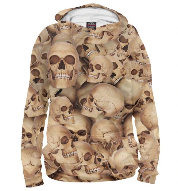Мужское худи с изображением Death's head цвета Белый