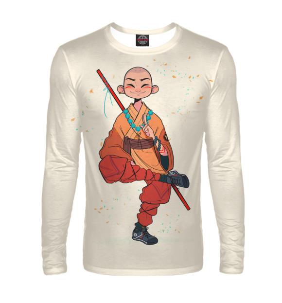 Мужской лонгслив с изображением Довольный монах Шаолиня цвета Белый