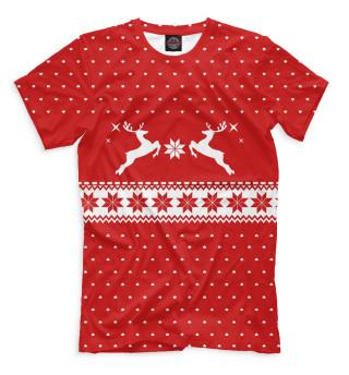 Мужская футболка Свитер с оленями
