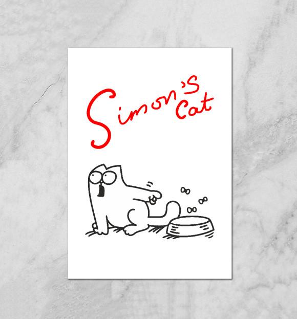 Плакат с изображением Кот Саймона хочет кушать цвета Белый