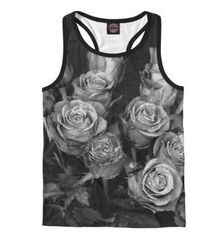 Мужская майка-борцовка Черно-белые розы
