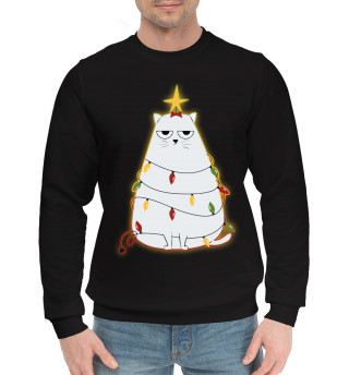 Мужской хлопковый свитшот Cute christmas cat
