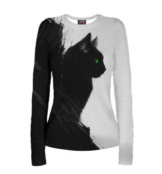 Женский лонгслив Чёрный кот