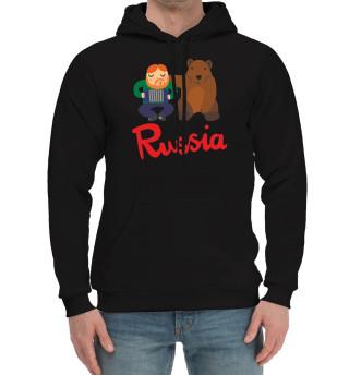 Мужской хлопковый худи Медведь и гармонист