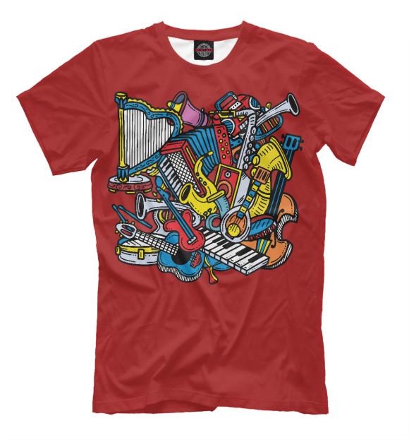 Мужская футболка с изображением Музыкальные инструменты цвета Светло-коричневый