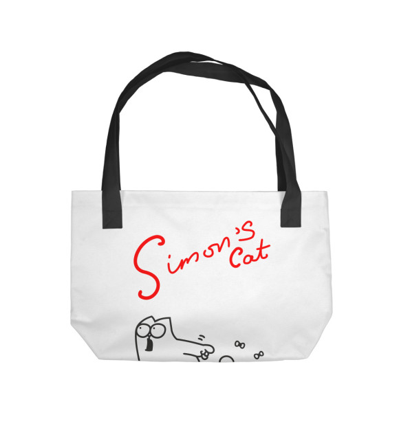Пляжная сумка с изображением Кот Саймона хочет кушать цвета