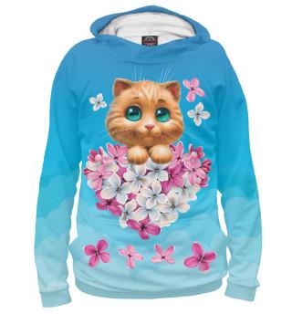 Худи для девочки Котенок и сердечко из цветов