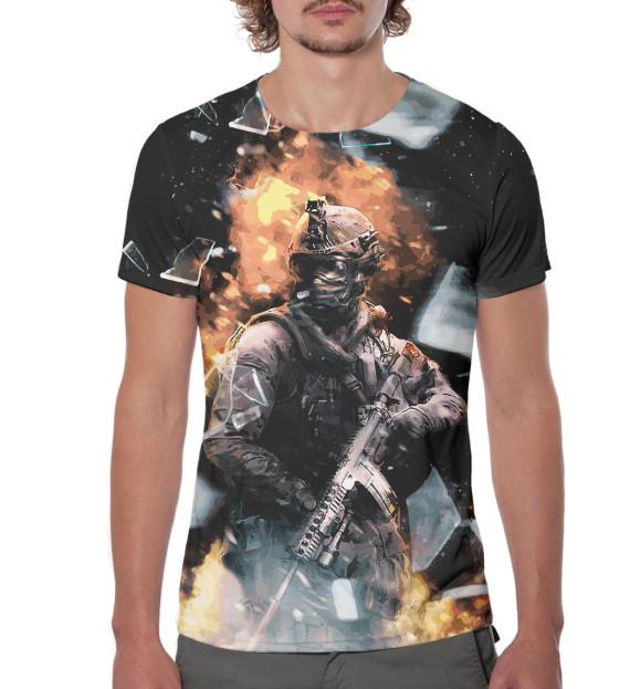 Мужская футболка с изображением Modern Warfare цвета Белый