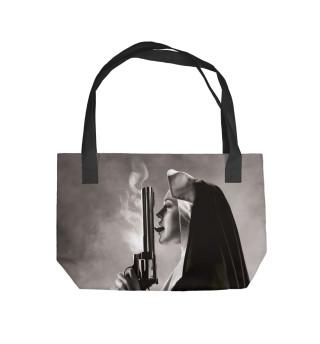 Nun with big gun