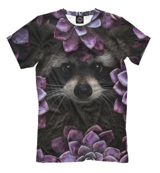 Женская футболка Енот в цветах