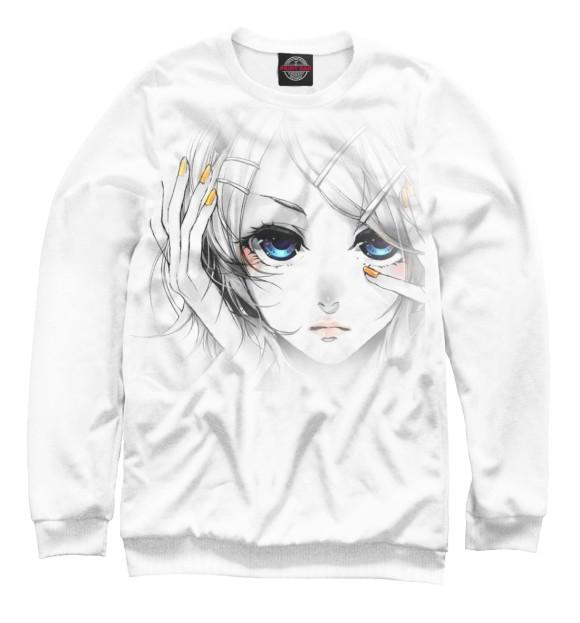Женский свитшот с изображением Девушка цвета Белый
