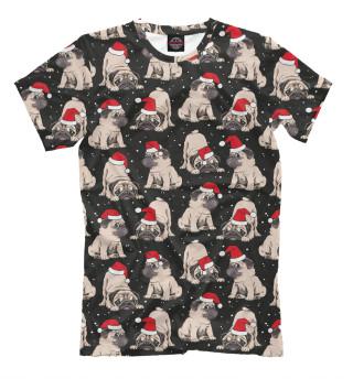 Женская футболка Новогодние мопсы