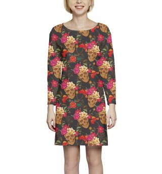 Платье с рукавом Черепа и цветы