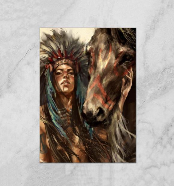 Плакат с изображением Индейская воительница цвета Белый