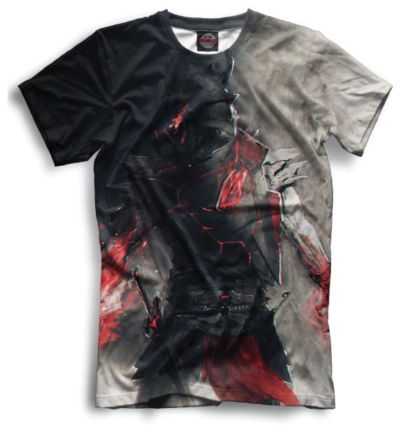 Мужская футболка с изображением Воин цвета Черный