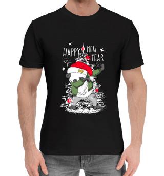 Мужская хлопковая футболка Happy new year