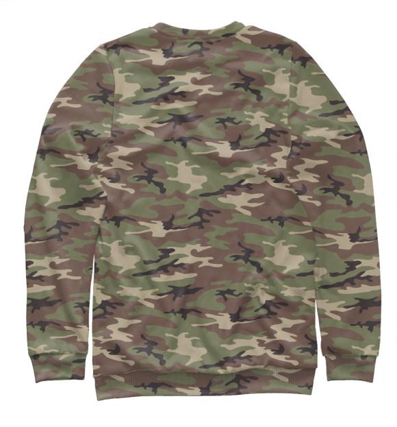 Мужской свитшот с изображением Камуфляж - лес цвета Белый