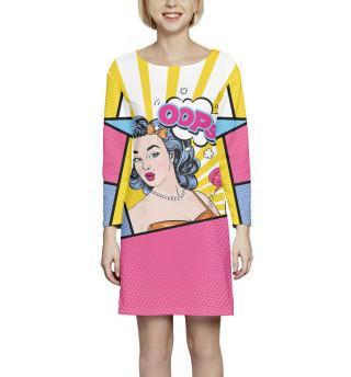 Платье с рукавом Поп-арт