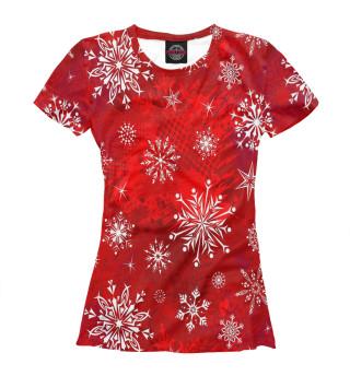 Женская футболка Узор из снежинок