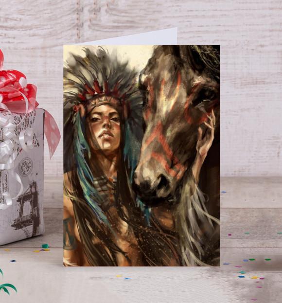 Открытка с изображением Индейская воительница цвета Белый