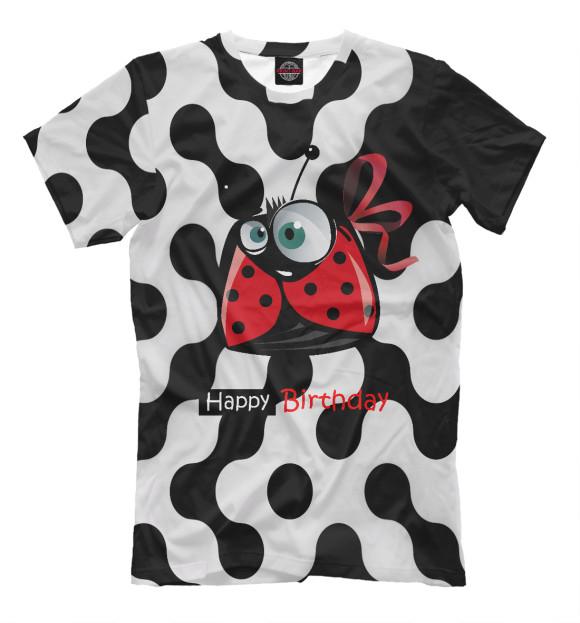Женская футболка с изображением Happy birthday цвета Молочно-белый