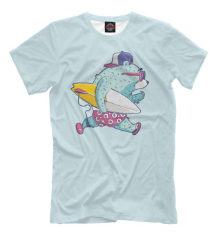 Мужская футболка Мишка сёрфер