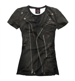 Женская футболка Кожаная куртка терминатор