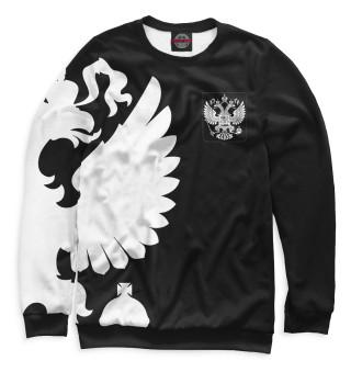 Мужской свитшот Герб России / Белый на Черном