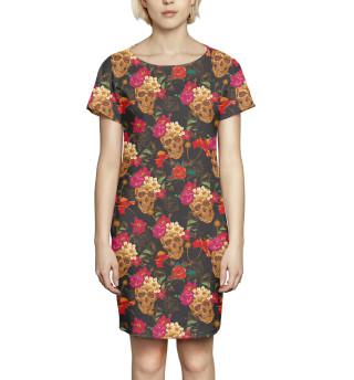 Платье летнее Черепа и цветы